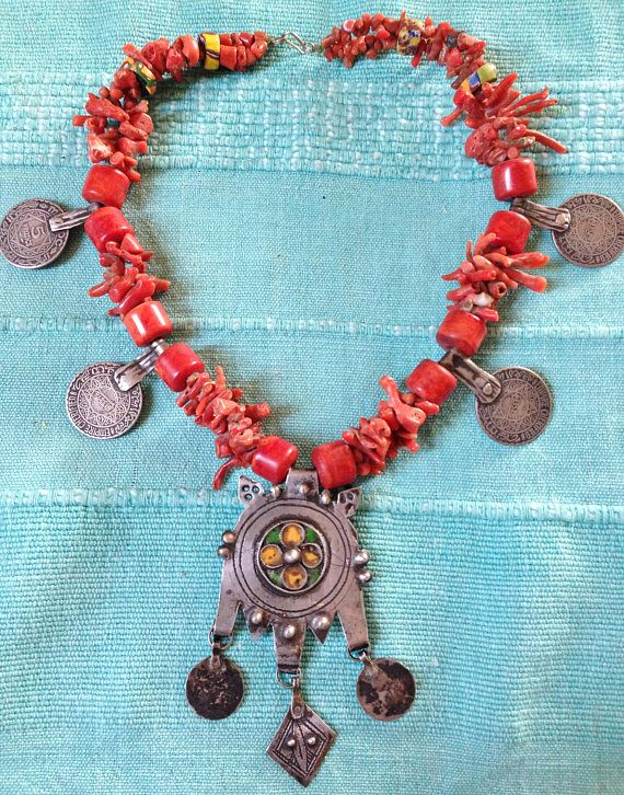 Antique Berber Coral Necklace with Enamel Silver Pendant, old Silver Coins,  Morrocan Anti-Atlas