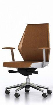 Спинка средней высоты , синхронизированный-механизм регулировки угла наклона кресла, регулировка упругости спинки, регулировка сиденья по высоте и по глубине (посадки), ножки на роликах, задняя панель и днище покрыты белым лаком. Цвет обивки - на выбор.