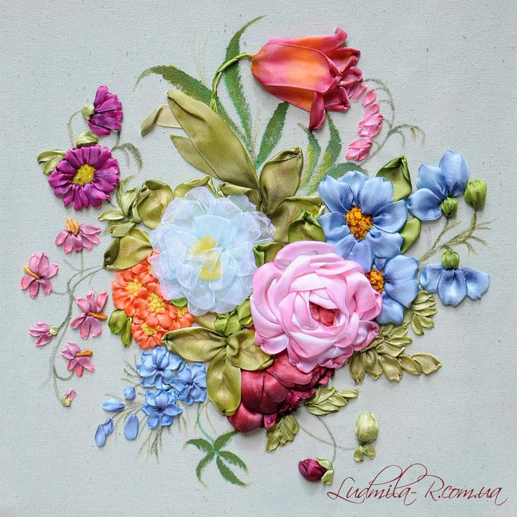 Best ribbon embroidery images on pinterest silk