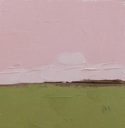 oil painting abstract landscape painting pink and green by pamelam
