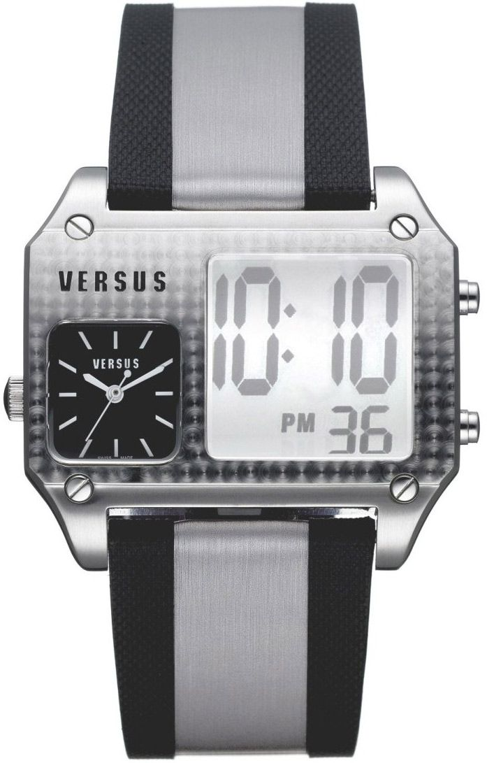 ΤVERSUS Anadigi Dual Time Leather Strap Τιμή: 327€ Τιμή Προσφοράς: 139€ http://www.oroloi.gr/product_info.php?products_id=6186