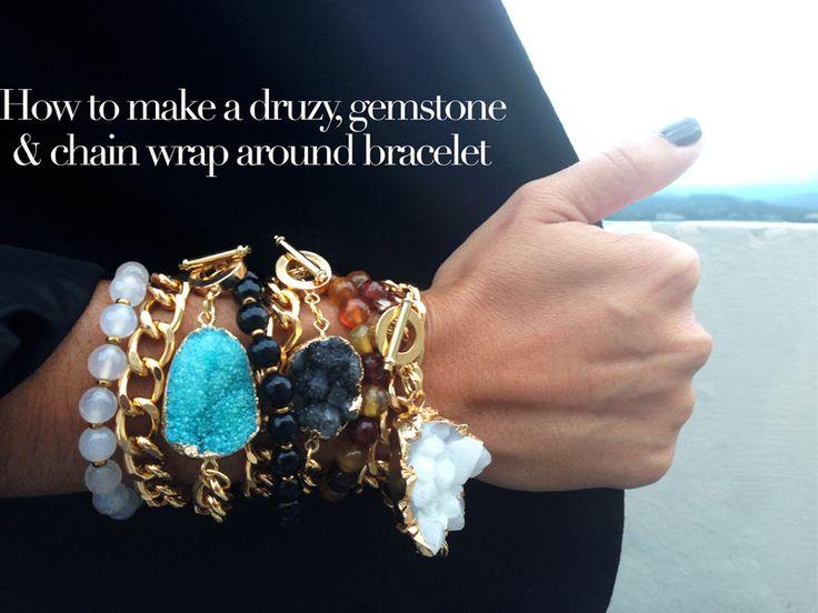 How to make a druzy, gemstone & chain wrap around bracelet - Alonso Sobrino