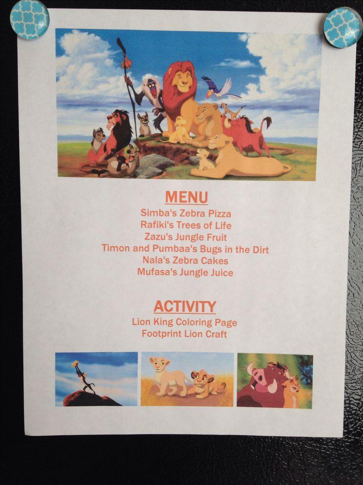 Lion King Menu - Lion King Movie Night - Disney Movie Night - Family Movie Night