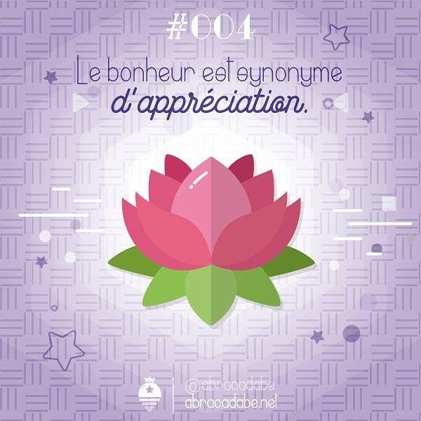 Jour 004 : Le bonheur est synonyme d'appréciation.   Au fur et à mesure de mes recherches sur le bien-être et de mes essais sur différentes méthodes, celle-ci est une des réalisations les plus intéressantes pour moi.  J'ai beaucoup lu sur le bonheur, et c'est l'une des choses qui est souvent mentionnée. ✨ Sans appréciation je ne pouvais pas accéder au bien-être. ☀ J'ai donc pris l'habitude de noter uniquement 3 phrases positives sur la journée, et comme beaucoup d'entre nous qui gard...