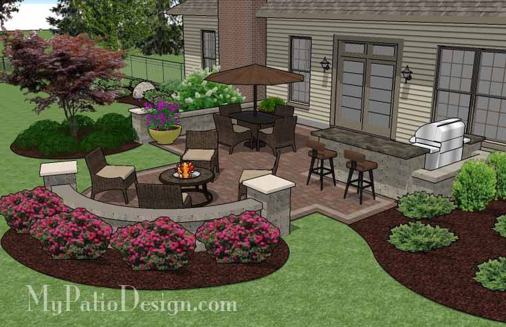 Creative Backyard Patio Design with Grill Station-Bar and Seating Walls | 525 sq ft | Download Installation Plan, How-to's and Material List @Mypatiodesign.com