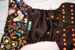 Folk Birds, Cotton (Chocolate outer, two-toned snaps- White caps/Orange pieces) Wrap Around, OS Pocket Diaper  #clothdiaper #ellabellabum www.ellabellabum.com