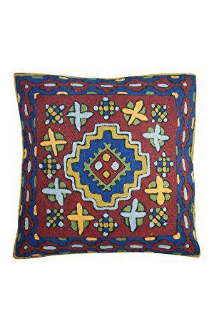 Mogul Decorative Floor Cushion Cover Bold Embroidered Multi Colour Sofa Decor Pillow Case 16X16 (Red)