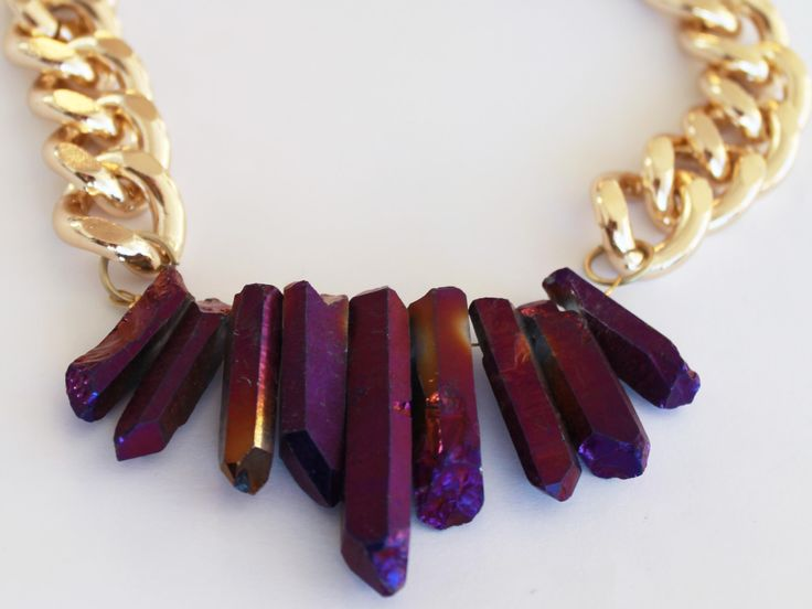 Now available on AHALife - Shh by Sadie handmade statement necklace. Chunky purple crystal quartz with chunky gold chain.  Fashion / style / jewellery / jewelry / handmade / artisan / bespoke