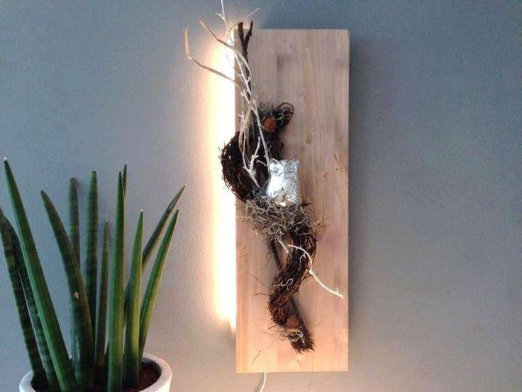 Nice HE u Au ergew hnliche Wanddeko Holzbrett cappuccinofarbig gebeizt dekoriert mit nat rlichen Materialien einer