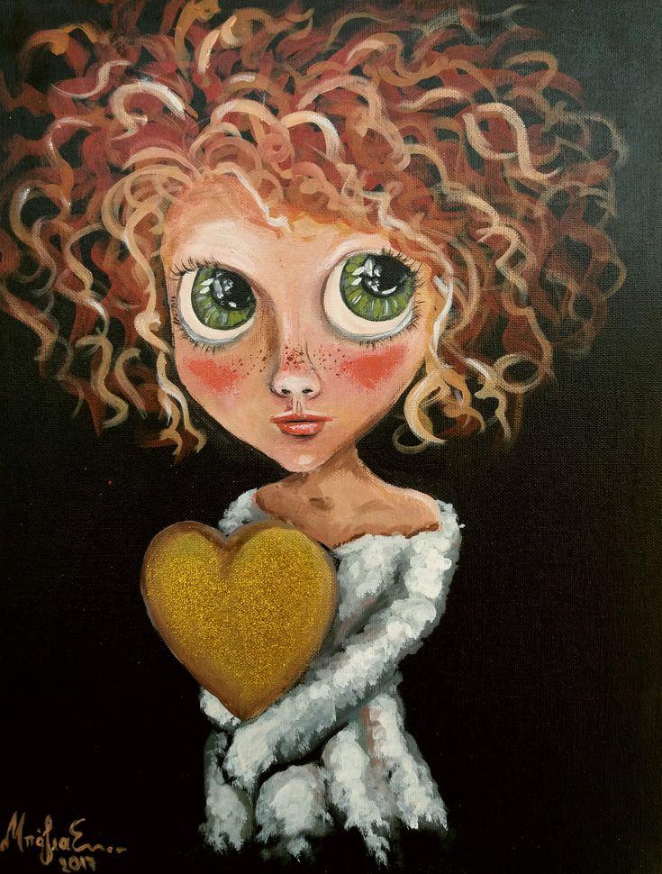 Το κορίτσι με την χρυσή καρδιά. Ακρυλικα