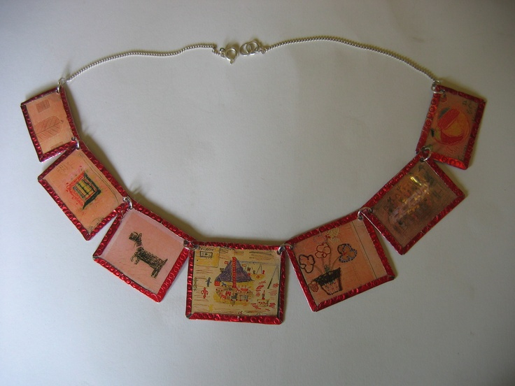 A special beautiful necklace: The drawings of the children from Teresienstadt in the Czech Republic. 3 women have one:Beverley Groene, St Louis/ Tali Nates,Johannesburg/ Dr Berel Reisel, Oslo.Not commercial work.