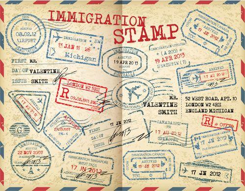 grunge travel stamps