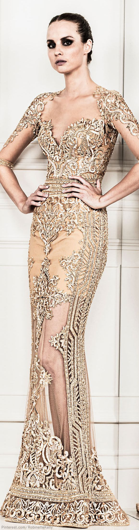 Zuhair Murad   S/S 2014 RTW. I always love his cutout peek a poo work - and those sleeves are fabulous.