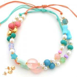 Pulsera Piedras Rosada Doble. Compra tus accesorios desde la comodidad de tu casa u oficina en www.dulceencanto.com #accesorios #accessories #aretes #earrings #collares #necklaces #pulseras #bracelets #bolsos #bags #bisuteria #jewelry #medellin #colombia #moda #fashion
