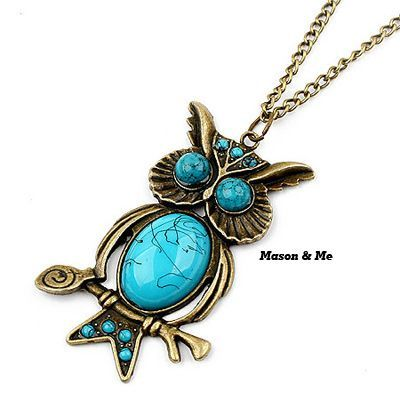 Evil Skyblue Owl Pendant Alloy Korean Necklaces Skyblue. Small and catchy. REPIN if you like it.😍 Only 29 IDR