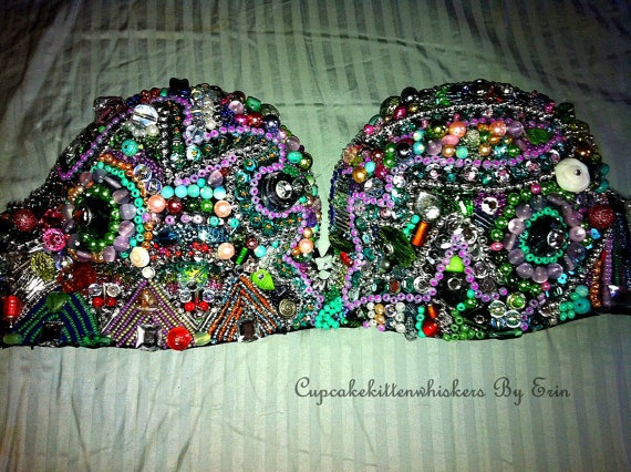 LOVE this. #edm #outfit #diy #bra #beads