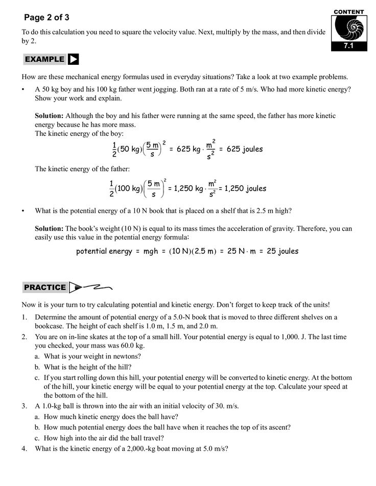 FunctionalNew and Potential Energy Worksheet