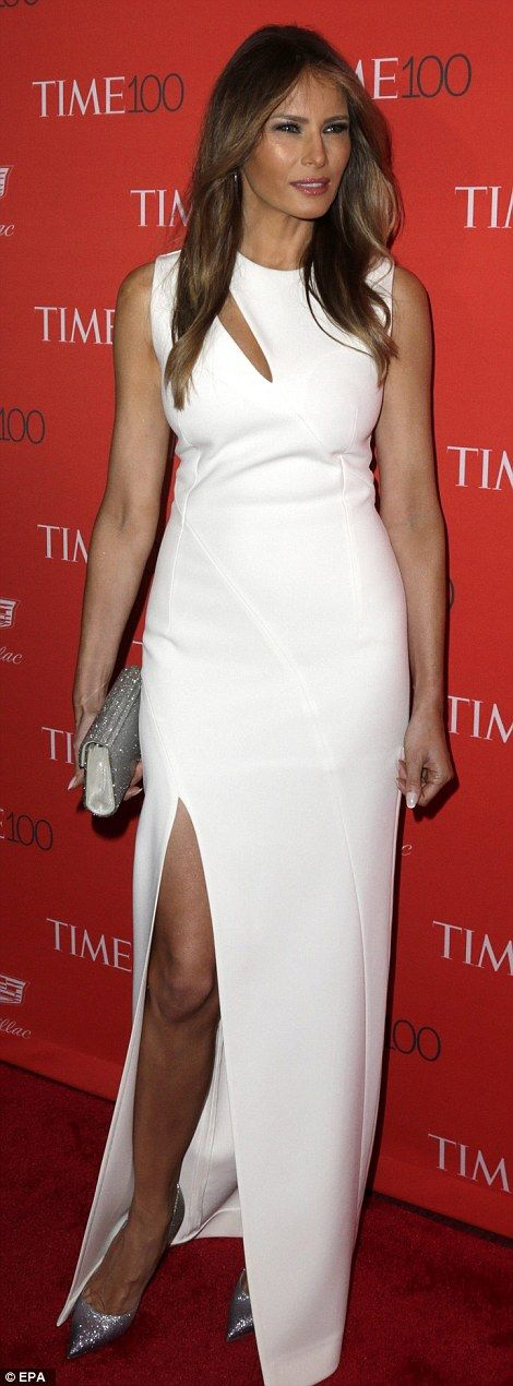 Melania Trump, who was celebrating her 46th birthday, looked stunning in a floor-length white Mugler dress and silver shoes and purse