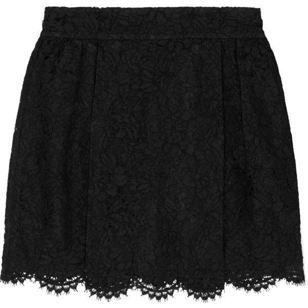 Valentino Layered lace and silk-organza mini skirt (£536) ❤ liked on Polyvore featuring skirts, mini skirts, black, scalloped lace skirt, short mini skirts, lace mini skirt, lace skirts and layered lace skirt