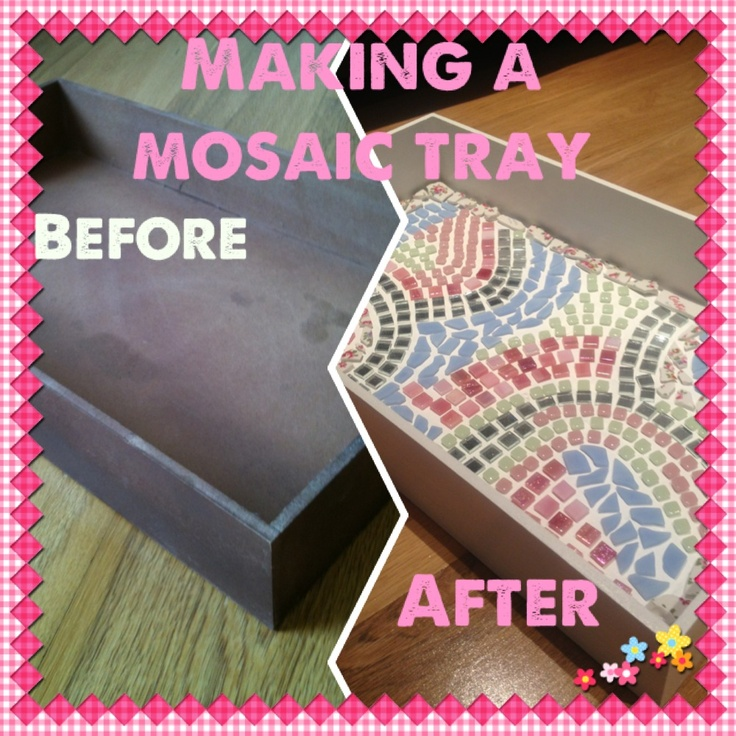 I transformed a cheap wooden tray by painting it white (5 coats!!) and letting my mosaic creativity go wild! I was inspired by a smashed Cath Kidston mug (the edging) then added mirror tiles, washed blue glass, pale pink & green mini tiles and pink iridescents. Made by @JoLeWo