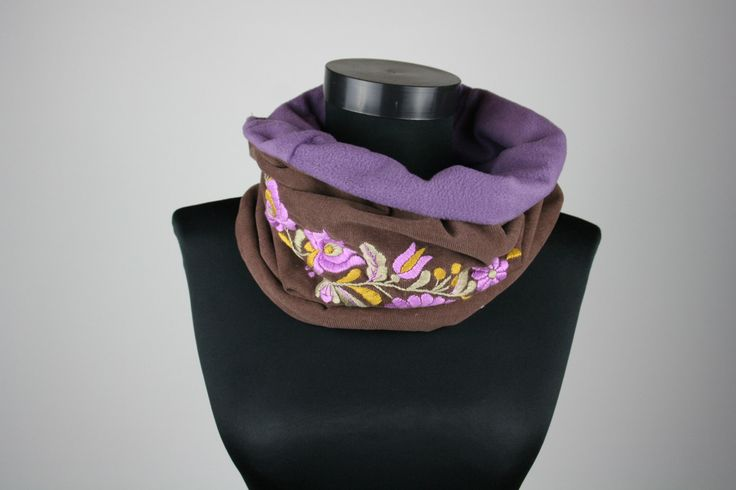 READY TO SHIP - Womans tube scarf - cowl scarf - circle scarf - matyo embroidery - violet brown - corduroy - hand embroidered by MatyoKid on Etsy