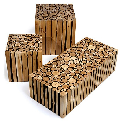 Reused wood stumps made into seats or stools. The design is simple and the colours are all natural, which go well with being eco friendly