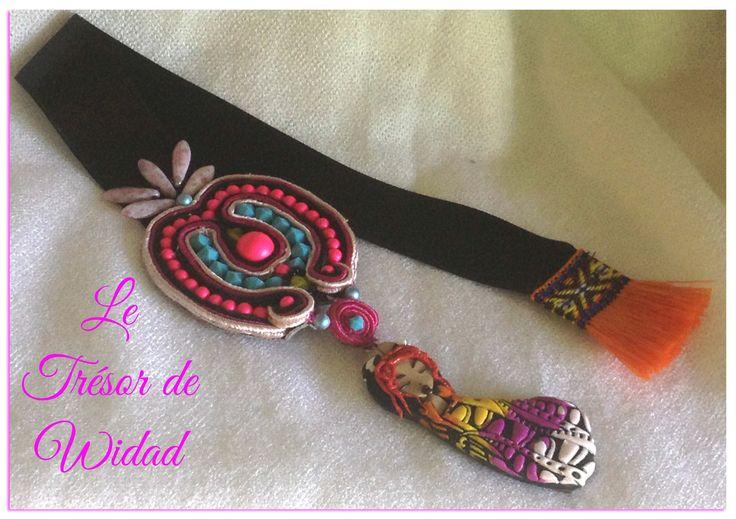 Marque-page coeur mandala soutache: décoré perles Swarovski, pendentif femme polymère. : Marque-pages par le-tresor-de-widad