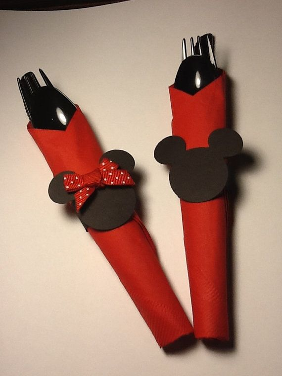 Mickey Mouse and Minnie Birthday Party Napkin Rings/ Tag