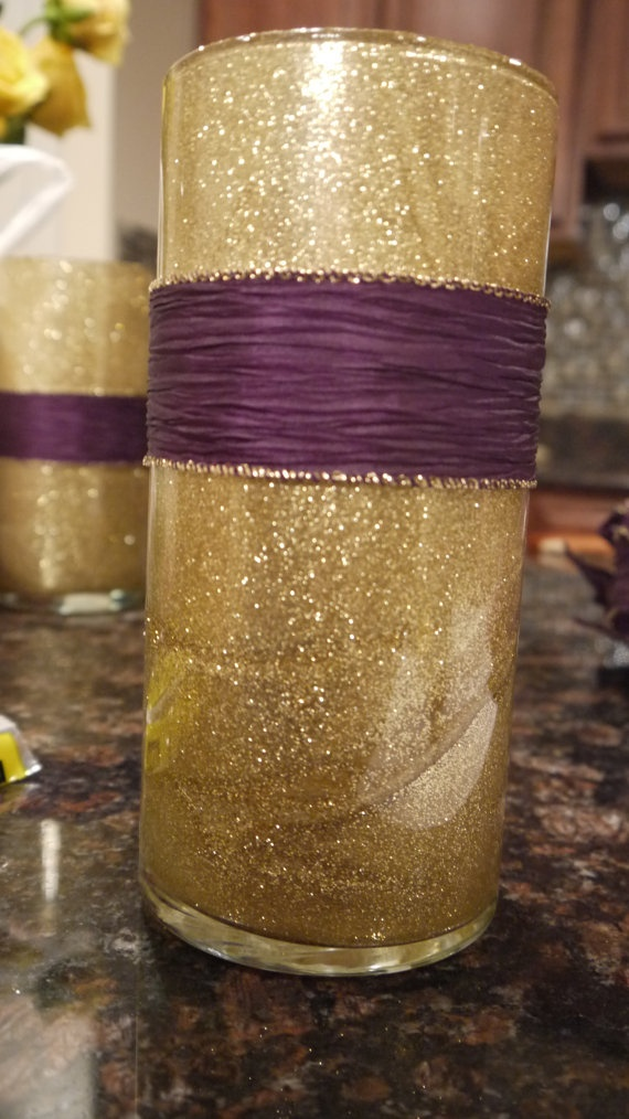 Glitter Vase With Ribbon Sash by PurpleMache on Etsy, $15.00