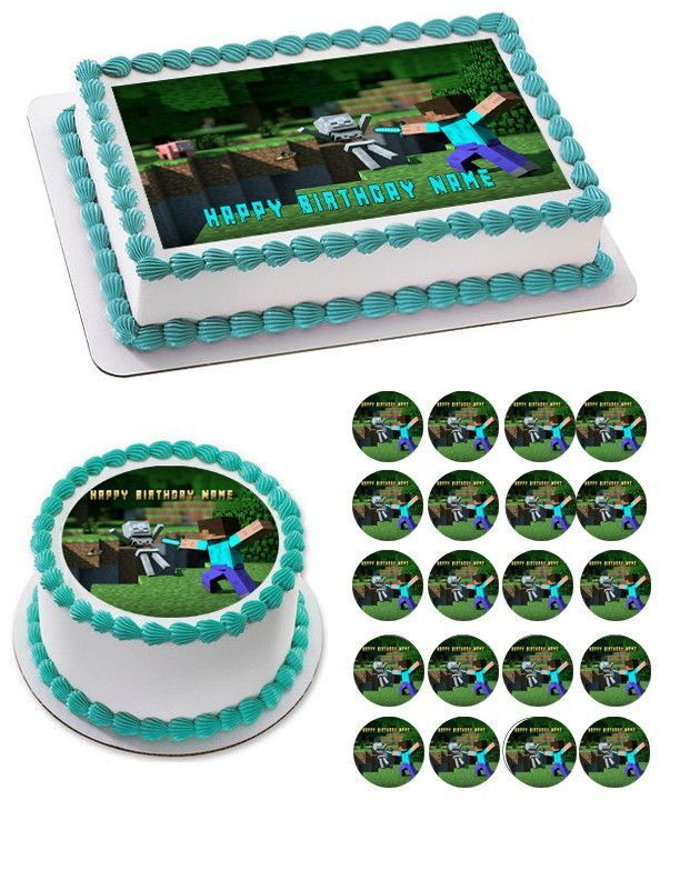 MINECRAFT Characters 3 Edible Cake OR Cupcake Topper – Edible Prints On Cake (EPOC)