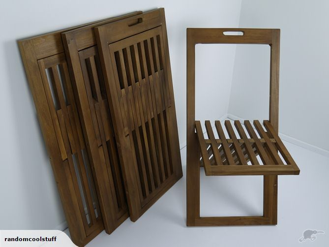 Set of 4 Teak folding outdoor chairs $179,- Hand made in Indonesia    Dimensions;  Length: 450.5mm  Width: 690mm  Height: 880mm   A 40ft Container has just arrived filled with all this furniture so make sure you Check out our other listings ! TradeMe / randomcoolstuff   Dimensions;  Length: 450.5mm  Width: 690mm  Height: 880mm   A 40ft Container ...