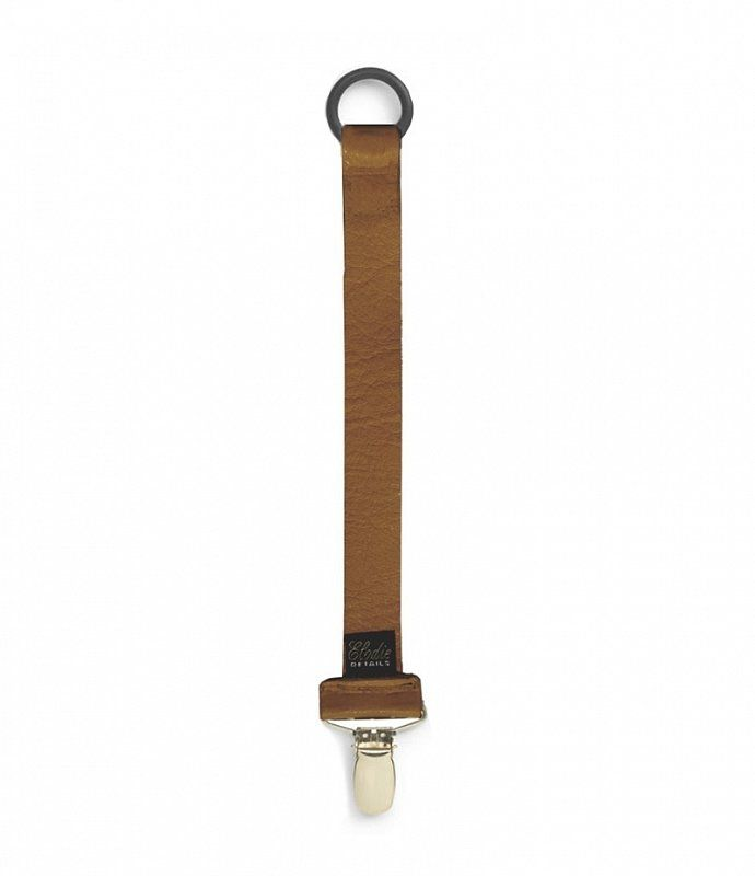"ELODIE DETAILS Pacifier Clip/ Holder, Genuine Leather ""LEATHER COGNAC"""