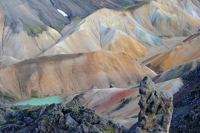 Landmannalaugar (Iceland) is famous for its multi-coloured rock formations