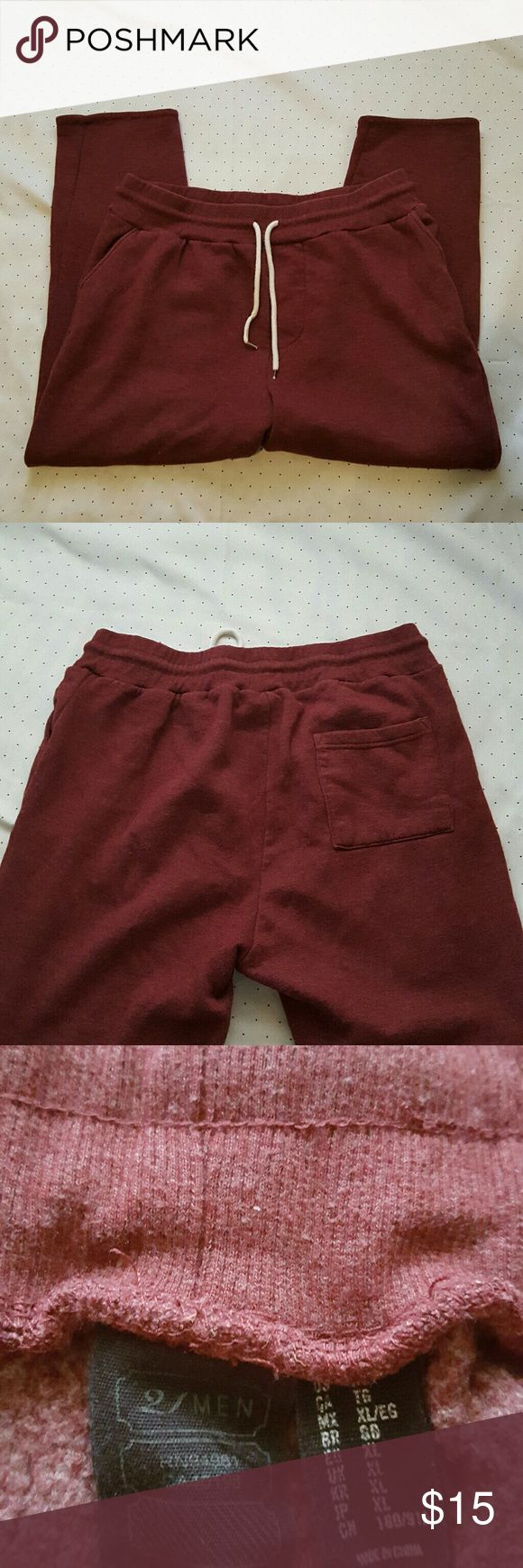 21 Men burgundy sweat pants size XL Color is slightly less brighter  Waist- 16.5  Rise- 13.5 Inseam-  24 inches   . AE 21men Pants Sweatpants & Joggers