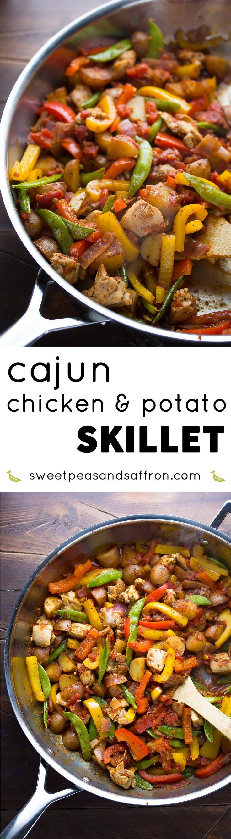 Chicken thighs are cooked with cajun-spiced potatoes, bell peppers and peas in this one pot, 30-minute paleo dinner recipe!