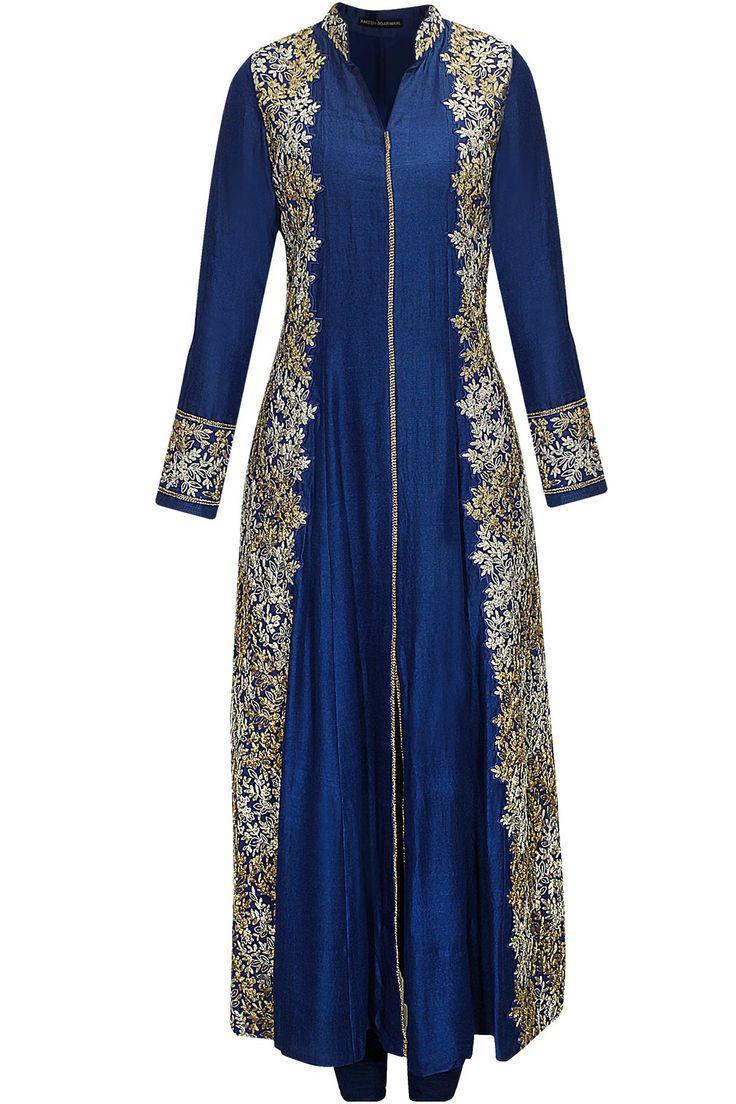 Cerulean blue dori embroidered kurta set by Aneesh Aggarwal. Shop now: www.perniaspopupshop.com. #kurta #aneeshaggarwal #embroidered #clothing #shopnow #perniaspopupshop #happyshopping