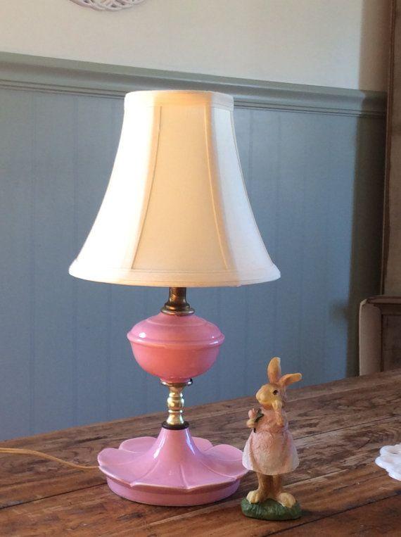 Vintage Pink Ceramic Flower Lamp / Girls Bedroom Lamp by Yesterdis