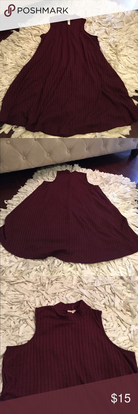 Ribbed Turtle neck sleeveless dress Burgundy ribbed light knit flowy dress. Small turtle neck Dresses