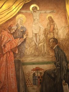 Mural by Polish born artist (who taught at CUA) Jan Henryk de Rosen of James, Cardinal Gibbons blessing Paulist Fr. John Burke at the USCCB Building, 4th Street, Washington, D.C., 2016, courtesy of Katherine Nuss, USCCB Information and Archive Services.