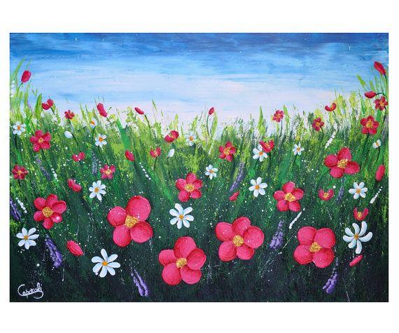 "Modern art home decor. Large floral painting. Fucsia green blue 19.7"" x 27.58"" #floralpainting #figurativepainting  #modernfineart #homedecor di DreamingMandalas"
