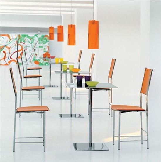 modern minimalist furniture for bistro and cafe design with frame in chromed steel