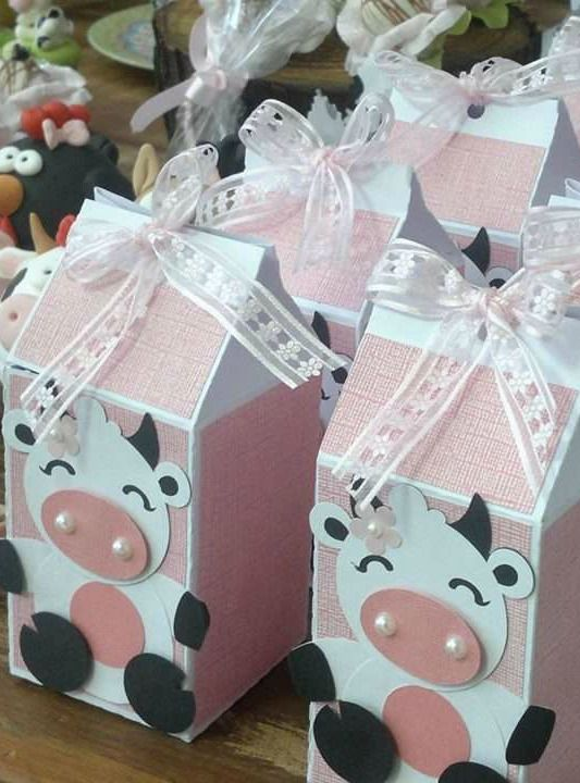Pink farm birthday party favors! See more party planning ideas at CatchMyParty.com!