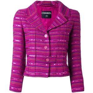 Предварительно принадлежащие Chanel Vintage блесток украшено полосатый пиджак