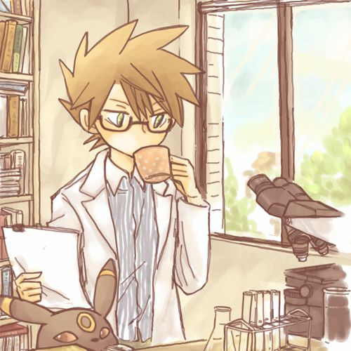 pokemon lab work umbreon Professor Oak gary oak professor green oak