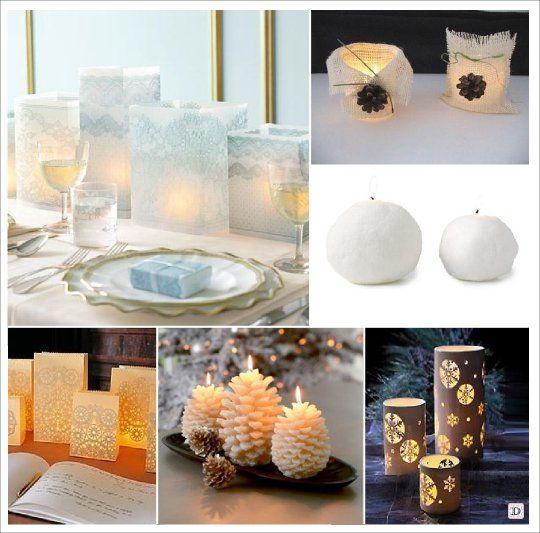 mariage hiver decoration table centre de table bougie. Black Bedroom Furniture Sets. Home Design Ideas