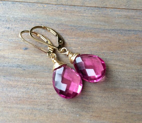 Pink Topaz Quartz Earrings  Sterling Silver Gold by VeraidaGifts