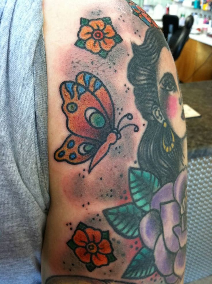 Lady With Butterflies Old School Tattoo