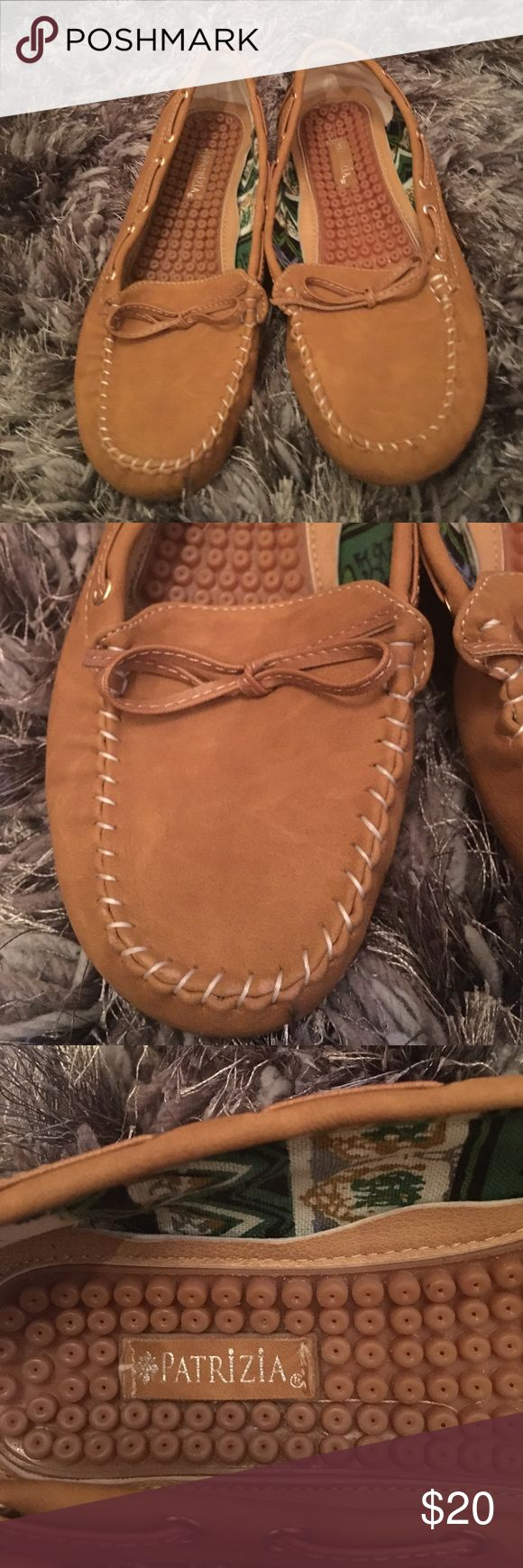 Women tan loafers size 7 Women tan loafers in size 37 by Patrizia! Well patented for extra cushion . Like new Patrizia Shoes Flats & Loafers