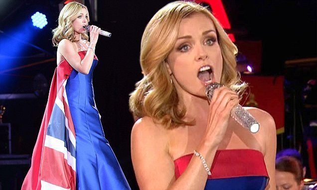 Katherine Jenkins sports Union Flag dress at Queen's 90th birthday