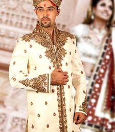 Buy cream brocade embroidered sherwani sherwani online at best price online